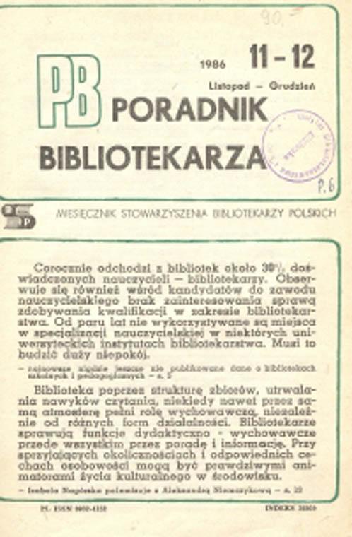 Okładka Poradnik Bibliotekarza 1986, nr 11-12