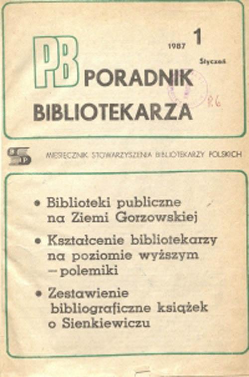 Okładka Poradnik Bibliotekarza 1987, nr 1