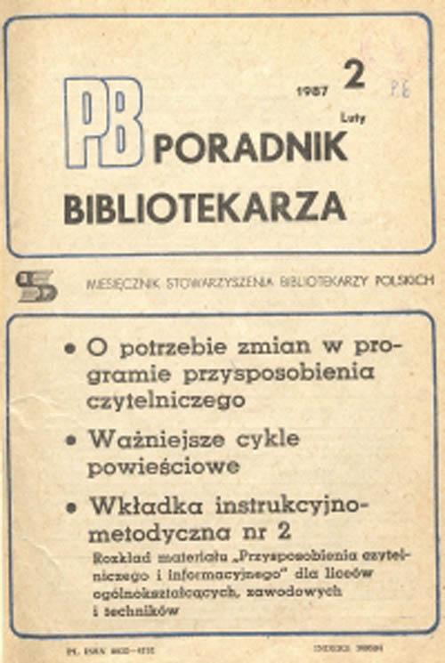 Okładka Poradnik Bibliotekarza 1987, nr 2