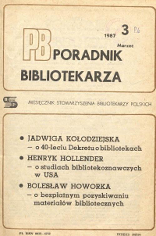 Okładka Poradnik Bibliotekarza 1987, nr 3