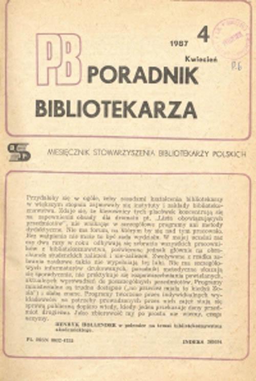Okładka Poradnik Bibliotekarza 1987, nr 4