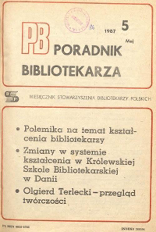 Okładka Poradnik Bibliotekarza 1987, nr 5