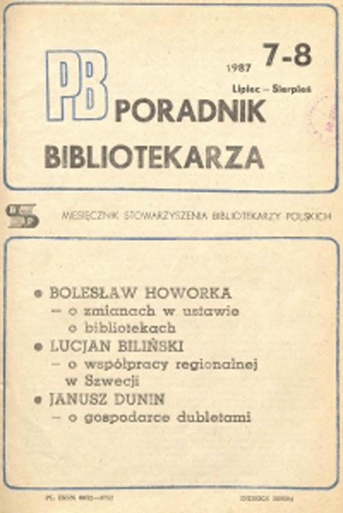 Poradnik Bibliotekarza 1987, nr 7-8