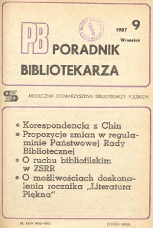 Okładka Poradnik Bibliotekarza 1987, nr 9