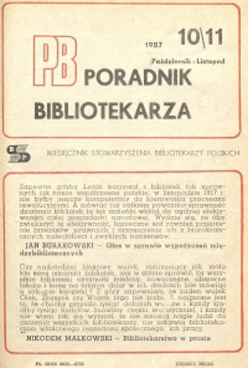 Okładka Poradnik Bibliotekarza 1987, nr 10-11