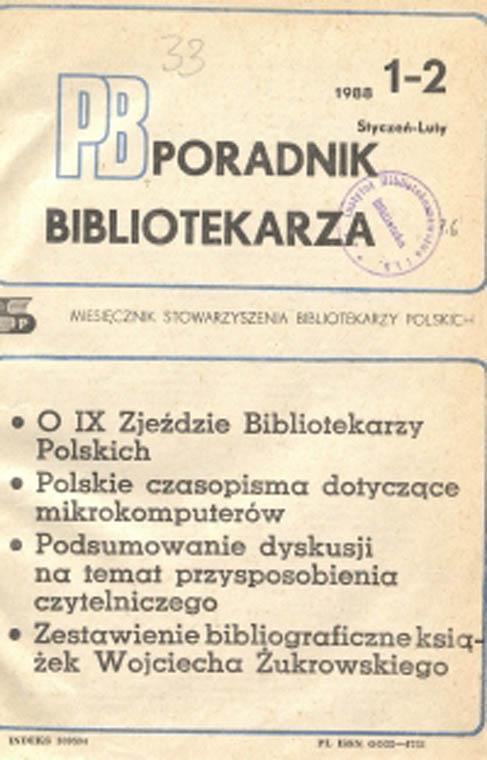 Okładka Poradnik Bibliotekarza 1988, nr 1-2