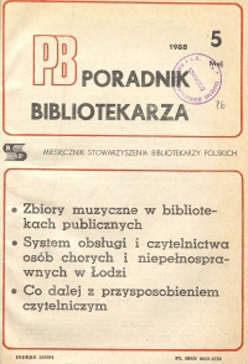 Poradnik Bibliotekarza 1988, nr 5