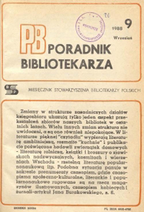 Okładka Poradnik Bibliotekarza 1988, nr 9