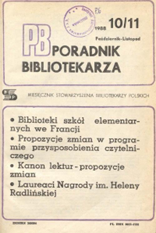 Okładka Poradnik Bibliotekarza 1988, nr 10-11