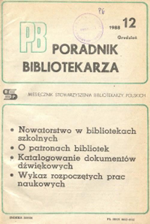Okładka Poradnik Bibliotekarza 1988, nr 12