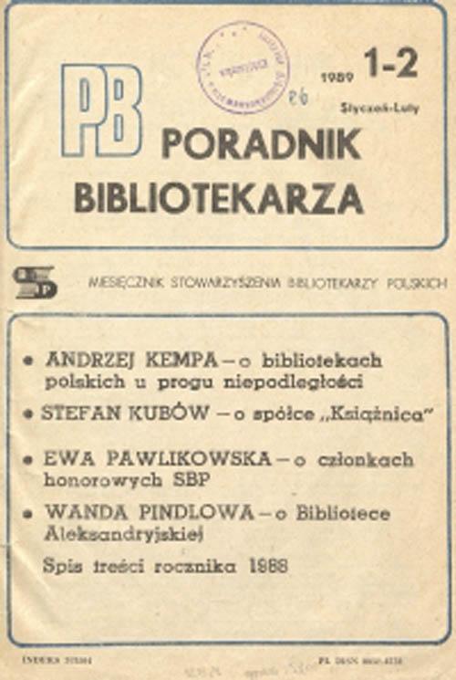 Poradnik Bibliotekarza 1989, nr 1-2