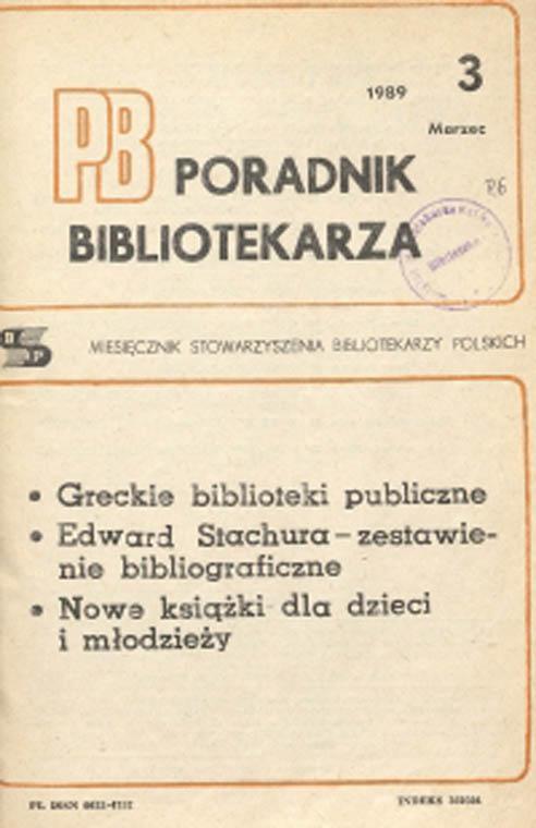 Okładka Poradnik Bibliotekarza 1989, nr 3