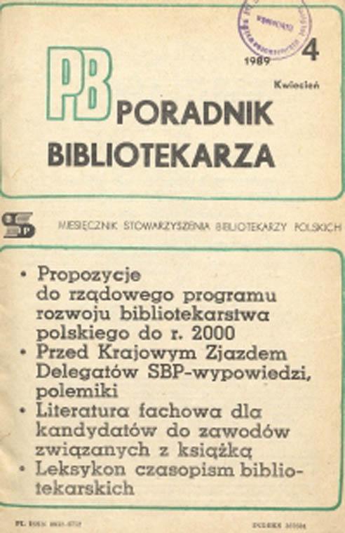 Okładka Poradnik Bibliotekarza 1989, nr 4