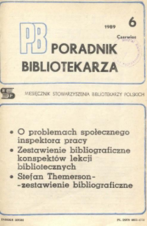 Poradnik Bibliotekarza 1989, nr 6
