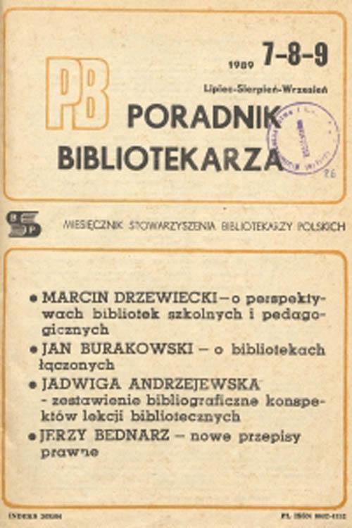 Okładka Poradnik Bibliotekarza 1989, nr 7-9