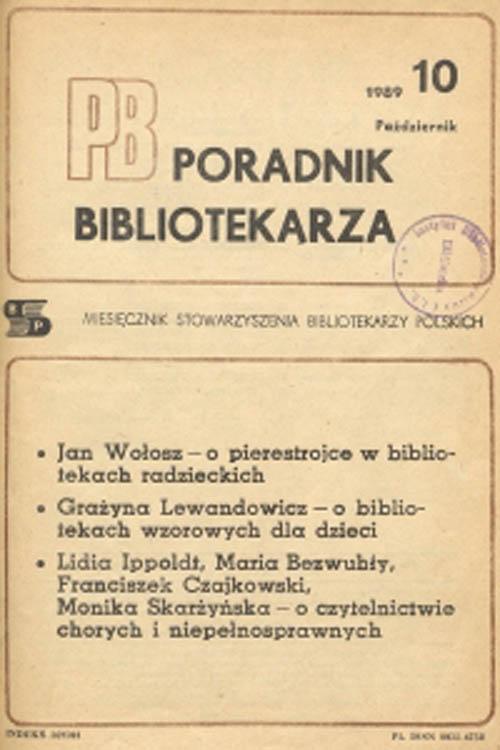 Okładka Poradnik Bibliotekarza 1989, nr 10