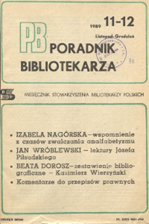 Poradnik Bibliotekarza 1989, nr 11-12