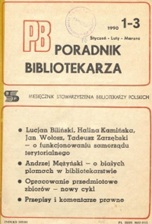 Okładka Poradnik Bibliotekarza 1990, nr 1-3