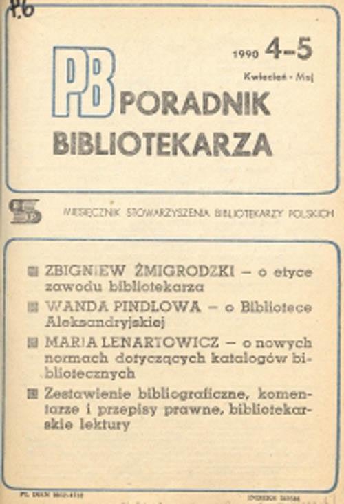 Okładka Poradnik Bibliotekarza 1990, nr 4-5