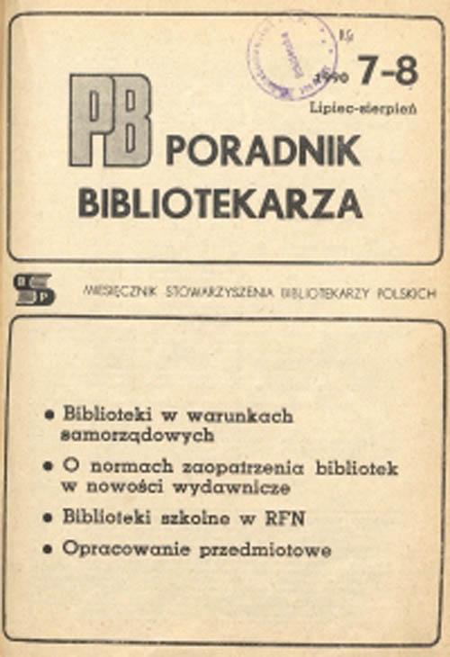 Okładka Poradnik Bibliotekarza 1990, nr 7-8