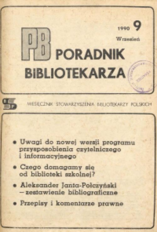 Okładka Poradnik Bibliotekarza 1990, nr 9