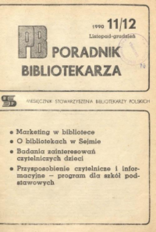 Okładka Poradnik Bibliotekarza 1990, nr 11-12