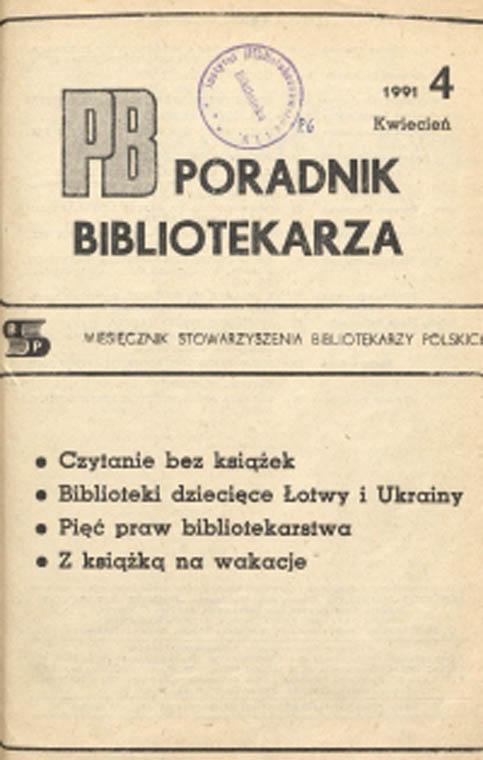 Okładka Poradnik Bibliotekarza 1991, nr 4