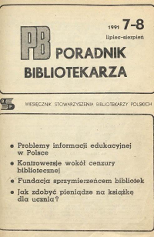 Okładka Poradnik Bibliotekarza 1991, nr 7-8