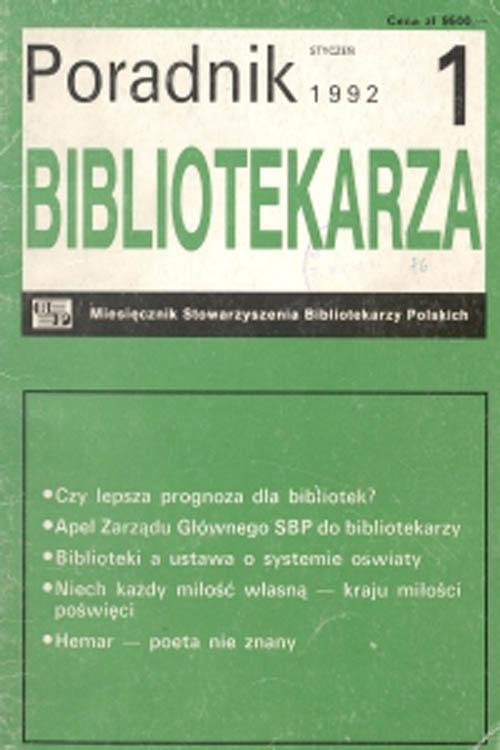Okładka Poradnik Bibliotekarza 1992, nr 1