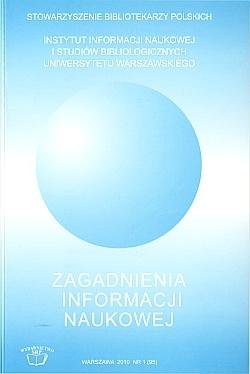 Okładka Zagadnienia Informacji Naukowej 2010, nr 1