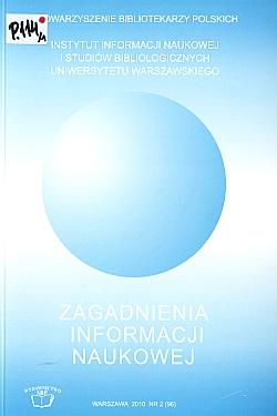 Okładka Zagadnienia Informacji Naukowej 2010, nr 2