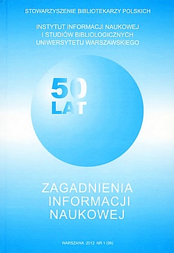 Zagadnienia Informacji Naukowej 2012, nr 1