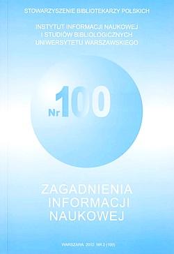 Okładka Zagadnienia Informacji Naukowej 2012, nr 2