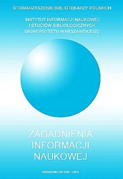 Okładka Zagadnienia Informacji Naukowej 2013, nr 1