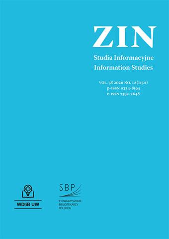 Okładka Zagadnienia Informacji Naukowej 2020, nr 1a
