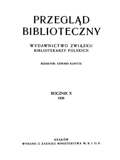 Przegląd Biblioteczny 1936, z. 1-4