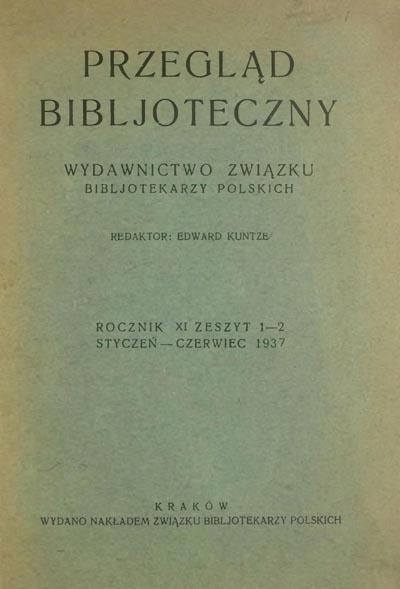 Przegląd Biblioteczny 1937, z. 1-2