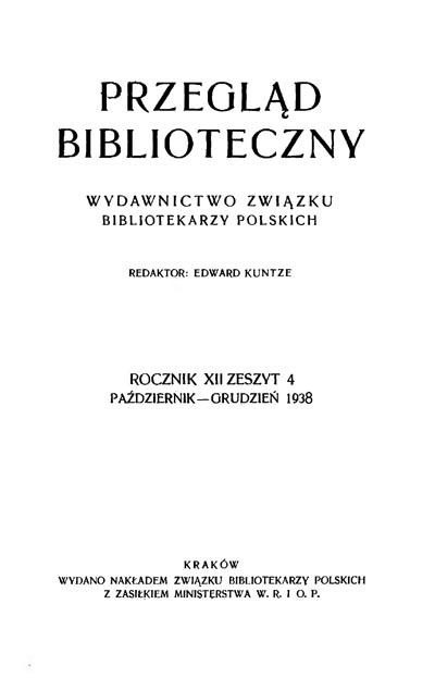 Okładka Przegląd Biblioteczny 1938, z. 4