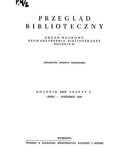 Przegląd Biblioteczny 1956, z. 3