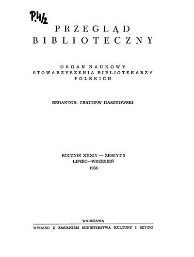 Okładka Przegląd Biblioteczny 1966, z. 3