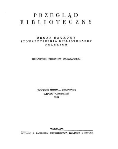 Okładka Przegląd Biblioteczny 1967, z. 3-4