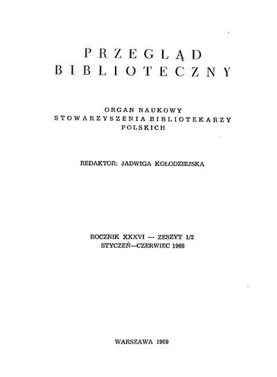Okładka Przegląd Biblioteczny 1968, z. 1-2