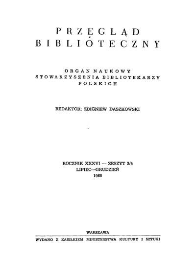 Przegląd Biblioteczny 1968, z. 3-4