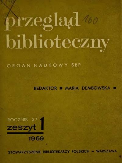 Okładka Przegląd Biblioteczny 1969, z. 1