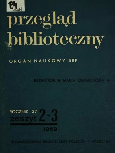 Przegląd Biblioteczny 1969, z. 2-3