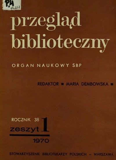 Okładka Przegląd Biblioteczny 1970, z. 1