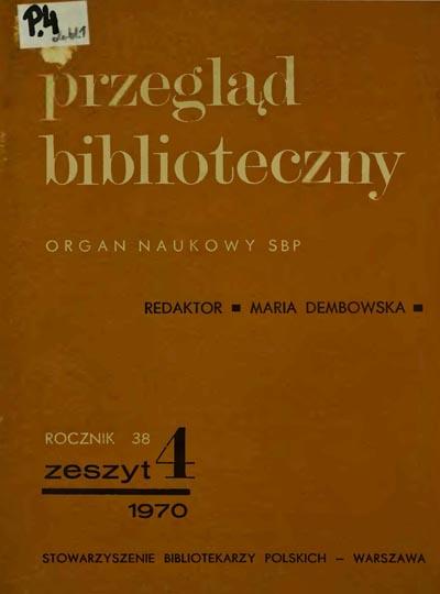 Okładka Przegląd Biblioteczny 1970, z. 4