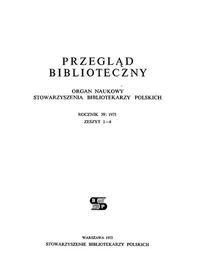 Przegląd Biblioteczny 1971, z. 1-4