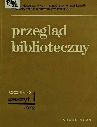 Okładka Przegląd Biblioteczny 1972, z. 1
