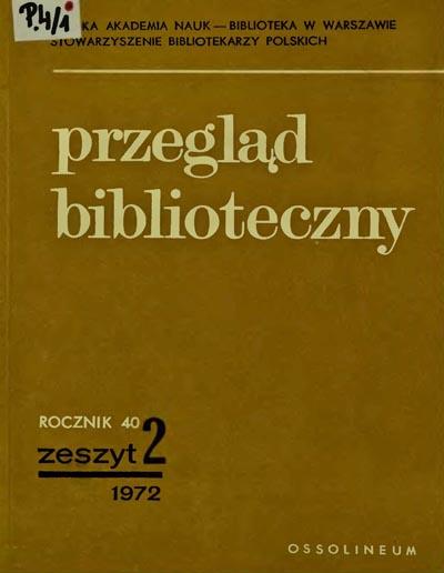 Okładka Przegląd Biblioteczny 1972, z. 2